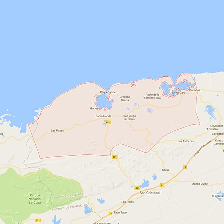 Carte de la municipalité de Bahia Honda